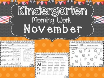 Kindergarten Morning Work (November)