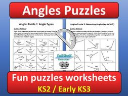 angles maths puzzles worksheets by fullshelf  teaching resources  tes