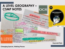 OCR A level Geography Changing Spaces, Making Places notes