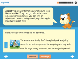 Adjectives Interactive Teaching Presentation - Year 3 Spag