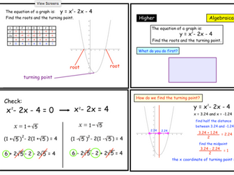 Roots and Turning Points of Quadratic Graphs (pptx)