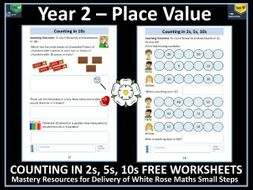 Counting in 2s, 5s, 10s: FREE Worksheets: Year 2 Place Value