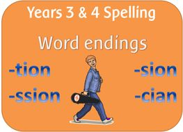 spag year 3 4 spelling endings which sound like n spelt tion sion ssion cian by. Black Bedroom Furniture Sets. Home Design Ideas