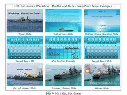 Weekdays, Months and Dates English Battleship PowerPoint Game