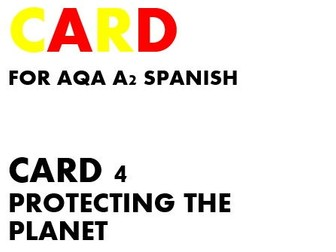 SPEAKING CARD 4 for AQA A2 SPANISH