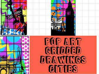 POP ART gridded drawing CITIES London, Paris, NYC Cover / Homework Tasks