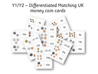 Year 1 / Year 2 Differentiated UK Matching Coin card Game