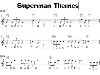 Superman Film Music Keyboard Task -  KS3  Sheet Music