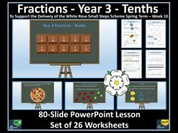 Fractions: Year 3 - Tenths - PowerPoint Lesson and  Worksheets