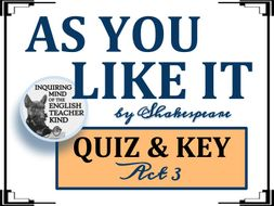 Shakespeare's As You Like It: Act 3 Quiz