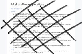 AQA GCSE JEKYL AND HYDE QUOTES AND WORKSHEET TEST by