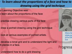 Portrait drawing: Lesson 1 scaling up, drawing parts of a face, pencil drawing.