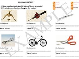 Mechanisms test/worksheet