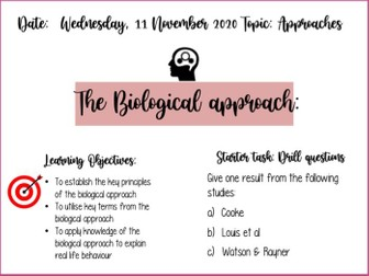 BTEC Applied Psychology Biological approach COMPLETE LESSON AND RESOURCES