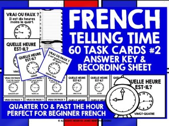 FRENCH TELLING TIME CHALLENGE CARDS #2