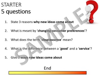 9-1 GCSE Business Theme 1.1 starter questions - short answer, knowledge, quiz