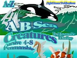 """A B Sea Creatures"" A-Z Cursive Penmanship"