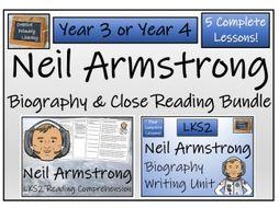 LKS2 Neil Armstrong Reading Comprehension & Biography Bundle