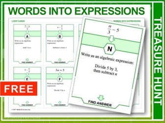 Writing Algebraic Expressions (Treasure Hunt)