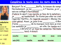Ma semaine writing practice Buffy - French - Year 8