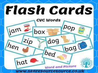 CVC Word and picture flash cards