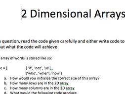 [GCSE+IGCSE] 2D Arrays introductory Task