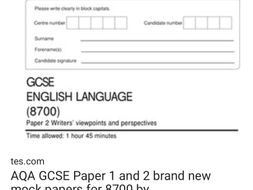 AQA8700 paper 1 and 2 reading sections