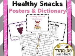 Healthy Snacks Vocabulary Posters and Dictionary