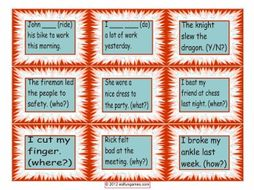 Past Simple Irregular Verb Cards 4 Pages = 36 Cards