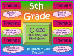 Houghton Mifflin 5th Grade Cloze Worksheet Full Year Bundle Themes 1-6