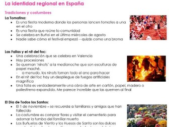 AQA La Identidad Regional NOTES for NEW SPANISH A LEVEL