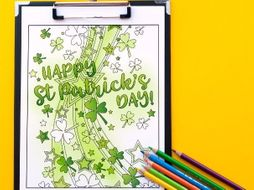 "St Patrick's Day Coloring Page | Printable PDF 8.5x11"" Coloring Page  ""Happy St Patrick's Day!"""