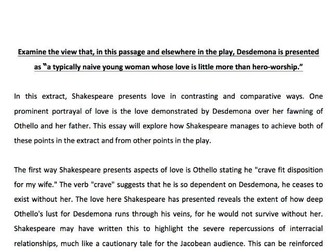 Othello - Role of Women Example Essay