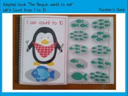 """Basic Maths Adapted Book """"The Penguin wants to eat"""""""