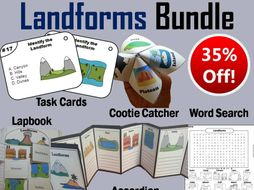 Landforms Task Cards and Activities Bundle