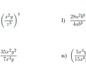 Indices worksheet no 8  (with solutions)