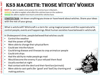 KS3/4 MACBETH - The Witches - English Task Card