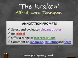 Alfred Tennyson – 'The Kraken' – Annotation / Planning Table / Questions / Booklet