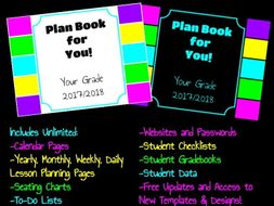 Digital Planbook with Google Slides-Black or White High Contrast/Neon