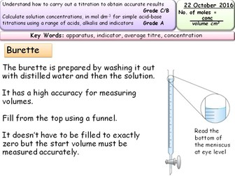 AS Chemistry Titration - theory and practical - entire lesson & resources