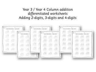 Year 3 / 4 Column method addition - differentiated worksheets - 2 digit, 3 digit and 4 digit numbers