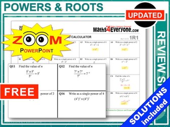 GCSE Revision (Powers and Roots)