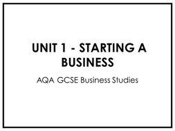 AQA Business Studies GCSE Unit 1 (ALL Lessons + Resources