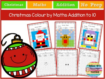 Christmas colour by maths addition to 10 - Reception/Year 1 worksheets