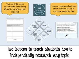 Research skills - 2 lessons to teach students how to research any topic