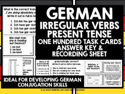 GERMAN IRREGULAR VERBS CHALLENGE CARDS #1
