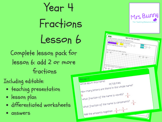 6. Fractions: add 2 or more fractions lesson pack (Y4)