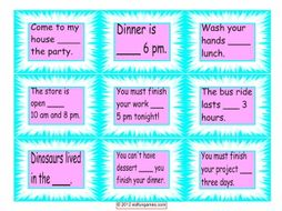 Prepositions of Time Cards 4 Pages = 36 Cards