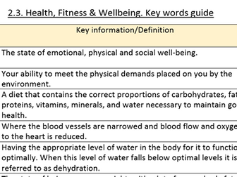 GCSE PE OCR new 2016 spec. Key words/phrases definitions pack.