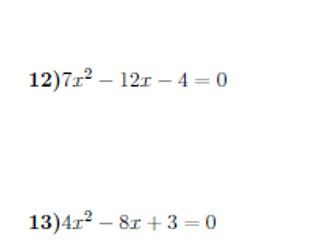 Quadratic formula worksheet (with solutions)